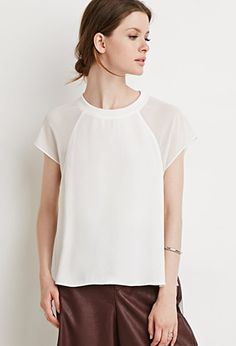 Sheer-Paneled Raglan Top | Forever 21 - 2000155762