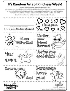 Random Acts Of Kindness No Show Coloring Pages For Kids