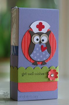 Owl...holds a small pack of tissues...get well msg. Purchase tutorial available