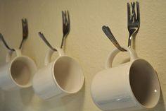 diy: kitchen fork hooks