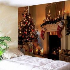 Christmas Fireplace Printed Wall Decor Tapestry