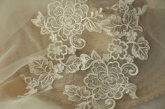 Bridal Alencon Lace Applique Pair in Ivory  Peony Lace by lacetime