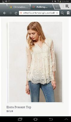 Anthropologie Elora Peasant Top by Let Me Be Beautiful Outfits, Cute Outfits, Modelos Fashion, Look Boho, Mode Chic, Boho Fashion, Womens Fashion, Peasant Tops, Peasant Blouse