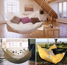Hammock bean bag chairs. Or bean bag chair hammocks? I don't know, but I want to take a nap in there and they look pretty DIY