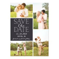 Modern Save The Date 4 Photo Classic Collage Magnetic Card
