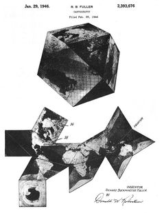 Richard Buckminster Fuller - Patent drawing for a world map projection based on the cuboctahedron (1946) / http://buckminster-fuller.tumblr.com