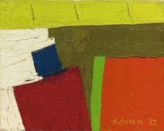 Etel Adnan (B. 1925, Lebanese), California, signed and dated Adnan '82; signed, titled and dated on the stretcher, oil on canvas, 20.5 by 25.2cm.; 7 7/8 by 10in.
