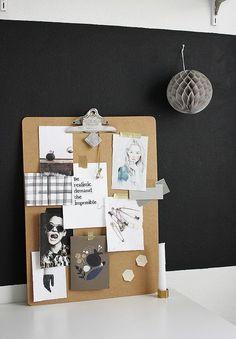 Moodboard on clipboard Journal Inspiration, Inspiration Boards, Workspace Inspiration, Board Ideas, Clipboard Art, Hanging Art, Mood Boards, Home Deco, Office Decor