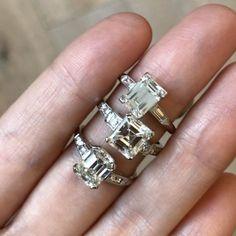 Vintage Art Deco emerald cut diamond engagement rings