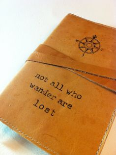 Love this journal.... want one or two.... or three!!! ;)        leather journal handprinted custom for you comp/not all by inblue, $25.00