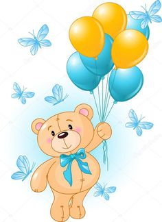 Buy Teddy Bear Birthday by Dazdraperma on GraphicRiver. Teddy Bear fly with balloons surrounded by butterflies. Buy Teddy Bear, Teddy Bear Cartoon, Teddy Bear Birthday, Cute Teddy Bears, Animal Birthday, Clipart Baby, Teddy Bear Drawing, Hanging Balloons, Bear Vector