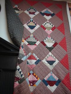 Love the scraps! Antique Quilt. Cake Stand Pattern, Mennonite, 72 x 82, 1850-1860