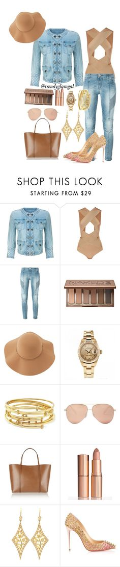 """""""Denim + Nude Outfit"""" by trendyglamgal ❤ liked on Polyvore featuring Balmain, Pierre Balmain, Urban Decay, Sans Souci, Rolex, Vince Camuto, Victoria Beckham, Dolce&Gabbana, Charlotte Tilbury and Annie Fensterstock"""
