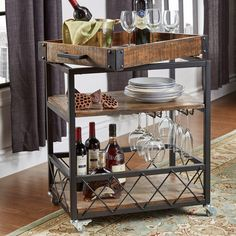 Append gorgeous look to your living space by adding this durable HomeSullivan Grove Place Distressed Cocoa Bar Cart with Wine Glass Storage. Kitchen Storage Cart, Kitchen Shelves, Kitchen Wood, Glass Kitchen, Kitchen Cart, Kitchen Island, Kitchen Decor, Bar Shelves, Wood Shelves