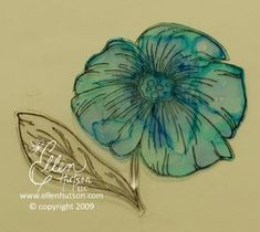 Alcohol ink on reverse side of rubber stamped film transparency (projector acetate) for greeting card embellishments.