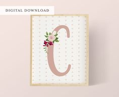 Pink Floral Nursery Initial C  Letter C  Pink by StyledInPrint