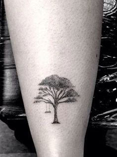 Trees are gigantic. But tree tattoos can be... very small! Miniature tattoo by Dr Woo.