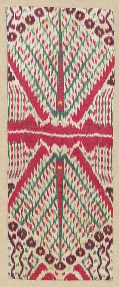 Uzbek ikat panel, 'tree' design on a white ground, with a very finely drawn pattern, 19th century.