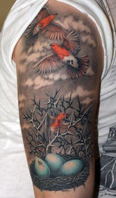 Nest and birds tattoo - Carefully selected by @Gorgonia www.gorgonia.it