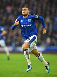 Cenk Tosun  of Everton during the Premier League match between Everton and West Bromwich Albion at Goodison Park on January 20, 2018 in Liverpool, England.