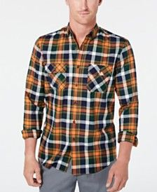 Club Room Men's Stretch Plaid Shirt, Created for Macy's - Pine Grove Cbo Sports Shirts, Tee Shirts, Unisex Baby Clothes, Baby Boy Gifts, Mens Sale, Poplin, Baby Shop, Casual Button Down Shirts, Casual Looks