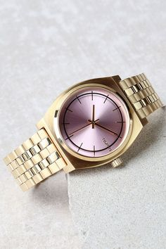 Nixon Time Teller Light Gold and Pink Watch