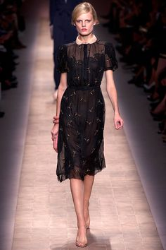 Valentino  Spring RTW 2013.  The cut is very 1930s Depression, but the see-through quality keeps it looking modern.