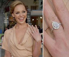 Katherine Heigl wears a three-carat pear-shaped diamond that was designed by Ryan Ryan and given to her by Josh Kelley in June 2006. It incorporates a stone from her mother's engagement ring.