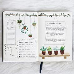 25+ Houseplant Inspired Bullet Journal Layouts Bullet Journal Harry Potter, Bullet Journals, Bullet Journal Inspo, Bullet Journal 2019, Bullet Journal Ideen, Bullet Journal Spread, Bullet Journal Layout, Journal Ideas, Journal Pages
