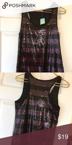 Forever brand sequin tank nwt! Gorgeous sequin tank in a black and light purple color nwt Forever Tops Tank Tops
