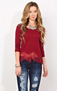 Burgundy lace trim boxy knit top - $12.99