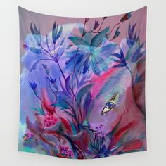 Fairy Bunny in Hiding Wall Tapestry by crismanart Wall Tapestries, Tapestry, Outdoor Walls, Hand Sewn, Vivid Colors, Crisp, Bunny, Fairy