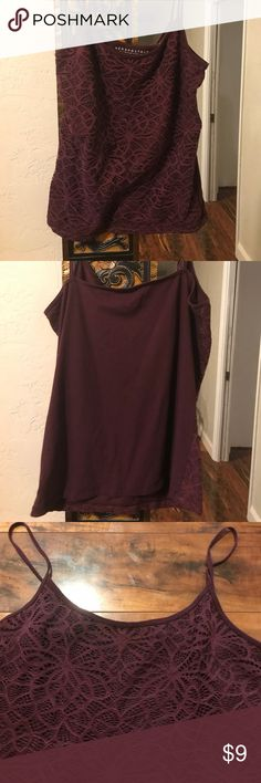 """Spaghetti strap cami Spaghetti strap cami with front lace overlay. Marked XL but runs smaller. Chest: 37"""" unstretched. Neck to hem: 17"""". Aeropostale Tops Tank Tops"""