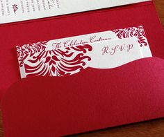This #red pocket folder really looks sharp! Our #isabella #letterpress wedding design takes the cake!