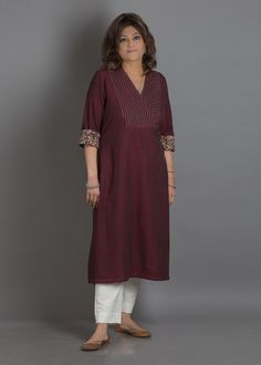 Burgundy Pintuck & Tagai Handwoven Cotton Kurta with Kalamkari Cuffs Simple Kurti Designs, Stylish Dress Designs, Salwar Designs, Kurta Designs Women, Kurti Designs Party Wear, Stylish Dresses, Sleeves Designs For Dresses, Dress Neck Designs, Blouse Designs