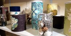 clean, empty jars, containers and canisters.... add a little fabric and turn those containers into fabulous DIY storage