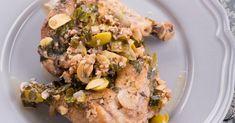 Recette de Cuisses de poulet minceur aux olives, noix de Cajou et citron confit. Facile et rapide à réaliser, goûteuse et diététique.
