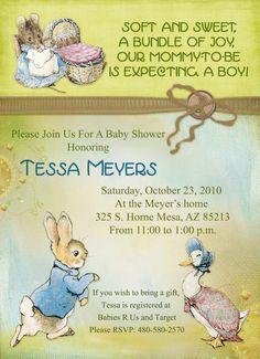Girl Baby Shower Invitation   Peter Rabbit Theme, Vintage, Pink, Printable,  Digital | Peter Rabbit, Babies And Rabbit