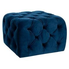 "Button-tufted ottoman.   Product: OttomanConstruction Material: Plywood and cottonColor: Navy blueDimensions: 17.3"" H x 25.4"" W x 25.4"" DCleaning and Care: Professional cleaning recommended"
