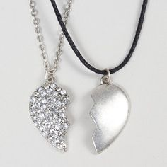 Best Friends Chain and Cord Heart Pendant Necklace | Claire's