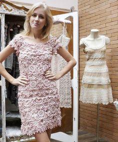 CROCHE DA ANJINHA: Lindo vestido de croche da Vanessa Motoro