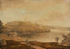 Looking into Darling Harbour from Millers Point in Sydney in the watercolour,unsigned.Photo from State Library of NSW. The Rocks Sydney, Darling Harbour, Historical Images, Ancestry, Colonial, Watercolour, Australia, History, Pen And Wash