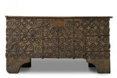 13th century Chest from France. Oak, wrought iron.
