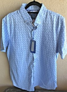 f7e7ff5871 Essex Crossing Mens Shirt Blue Short Sleeve Chambray Flamingo Button-Down L  New #EssexCrossing
