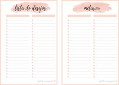 Inserts Planner 2017 para Download - Metas e Wish List.