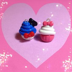 Donald and Daisy Duck Polymer Clay Cupcake by PixieAddictions, $5.00