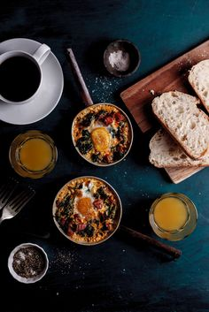 Baked eggs with spinach, chorizo and feta.