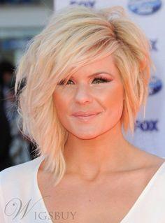 Custom Kimberly Caldwell Asymmetrical Hairstyle Medium Wavy Blonde Full Lace Wig 100% Human Hair 12 Inches