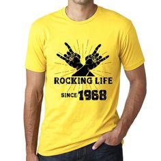 Rocking Life Since 1968 Men's T-shirt Yellow Birthday Gift 00422