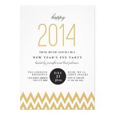 Chevron Chic New Years Party Invite.  $1.90